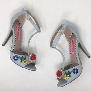 Betsey Johnson Heels Lenox Denim Flower Beads 6